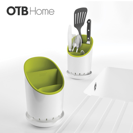 餐具收纳桶白绿色